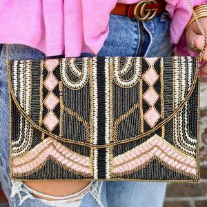 Boutique - 1950s Style Beaded Clutch/Crossbody